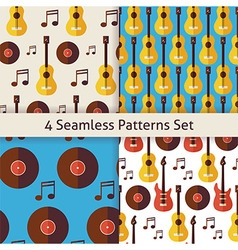 Four Flat Seamless Music Instrument Guitar Musical vector image