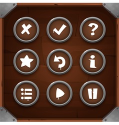 game icons on wooden background set 2 vector image
