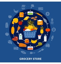 Grocery Food Supermarket Round Composition vector