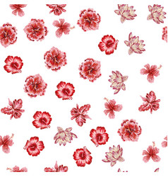 hand drawn flowers seamless white background vector image