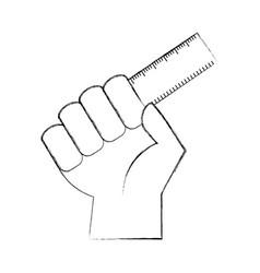 Hand human with rule school vector