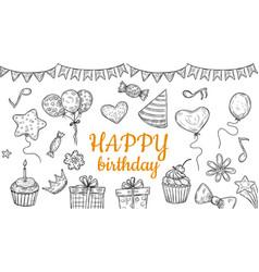 happy birthday elements sketch party banner vector image
