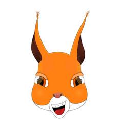 Head of happy squirrel in cartoon style kawaii vector