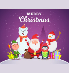 holiday winter background christmas characters vector image