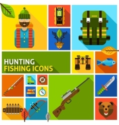Hunting and fishing icons set vector image
