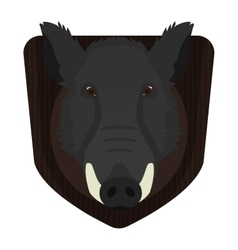Hunting trophy Wild boar head on wood shield vector image