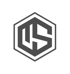 initial us hexagon logo concept vector image