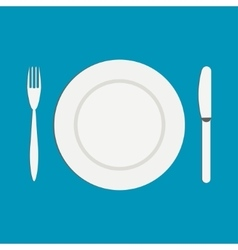 Knife and a fork near the empty plate on a white vector