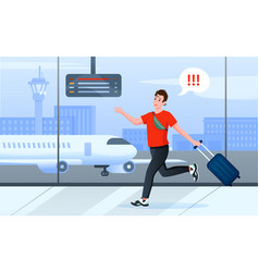 Late for plane cartoon busy man tourist character vector