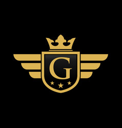 letter g shield wing vector image