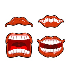 Lips set of emotions Shouts and joy Shouting and vector image