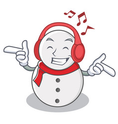 Listening music snowman character cartoon style vector