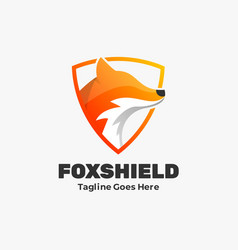 logo fox shield gradient colorful style vector image