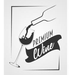Logotype Premium wine Wine bottle and wine glass vector