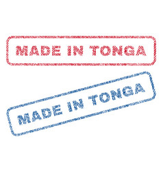 made in tonga textile stamps vector image vector image
