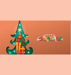 Merry christmas papercut pine tree gift box banner vector