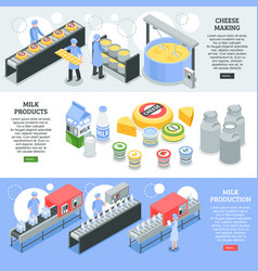 Milk factory isometric banners vector