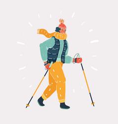 norwegian nordic walking vector image