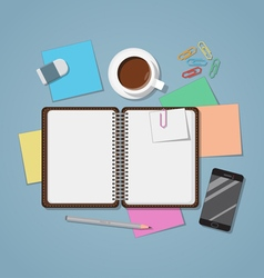 Notebook Open With Coffee vector image