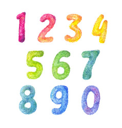 Numbers cartoon kids set fluffy watercolor vector
