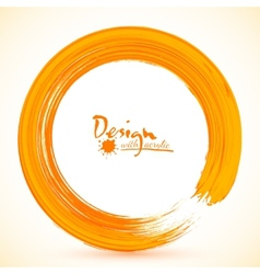 Orange paintbrush circle frame vector image