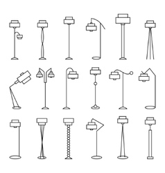 Outline floor lamp Set vector image