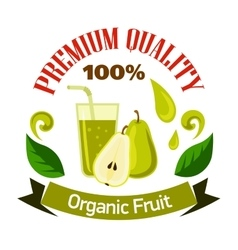Pear fruits with glass of juice cartoon badge vector