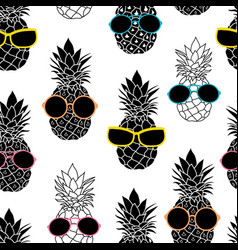 Pineapples wearing colorful sunglasses vector