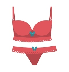 pink set lingerie with bow lace vector image