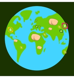 place on the planet indicate state of economy vector image