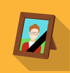 Portrait of deceased person icon in flat style vector