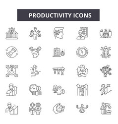 Productivity line icons signs set vector