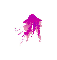 purple pink jellyfish drawing isolated on white vector image