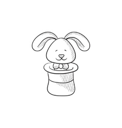 Rabbit in magician hat sketch icon vector image