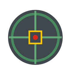 Red point gun aim icon flat style vector
