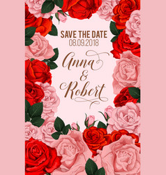 Rose flowers for save the date card vector