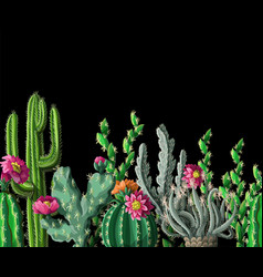 Seamless border with cactus and flowers vector