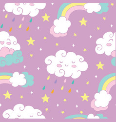 seamless pattern with rainbow rain clouds pink vector image
