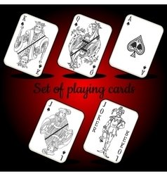 Set of playing cards on a red background vector image