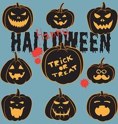 Set Of Vintage Happy Halloween pumpkins Halloween vector