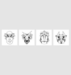 set unusual hand draw with a male vector image