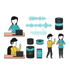 set wireless speaker and people using technology vector image