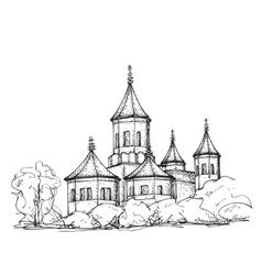 Sketch of church hand drawn vector