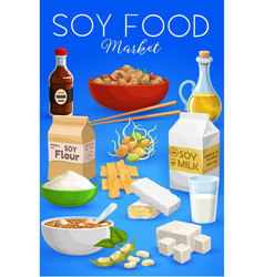 soybean food soy products cartoon poster vector image
