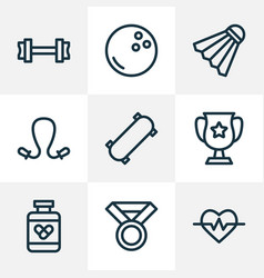 sport icons line style set with fitness winner vector image