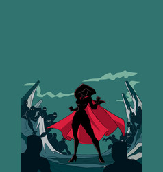 Superheroine ready for battle silhouette vector
