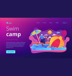 Swim camp concept landing page vector