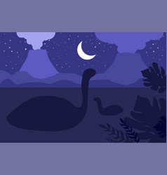 swimming dinosaurs night nature scene vector image