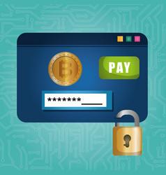 template web with virtual coin bitcoin vector image