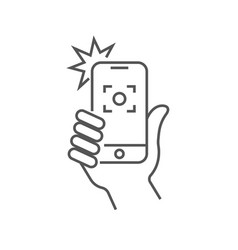 the hand hold the smartphone and photographed with vector image